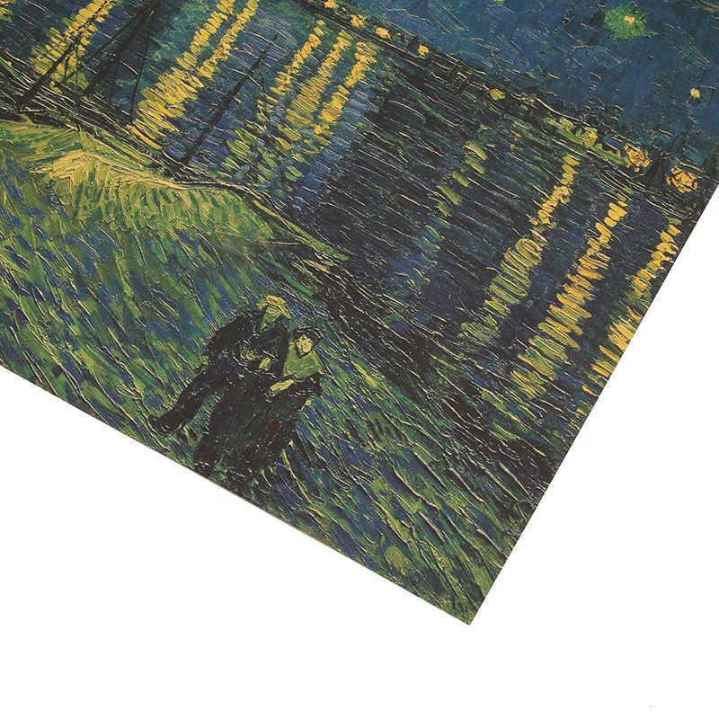 Dlkklb ريترو كرافت ورقة ملصق فان جوخ ليلة المرصعة بالنجوم على Rhone المنزل اللوحة الزخرفية الجدار ملصق 36x47 سنتيمتر