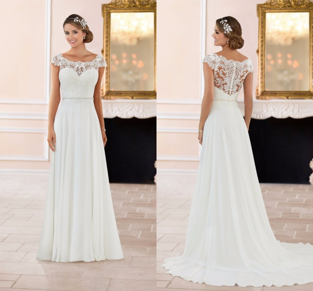 Simple Wedding Dresses With Sleeves: Wejanedress Cap Sleeves Lace And Chiffon See Through Back