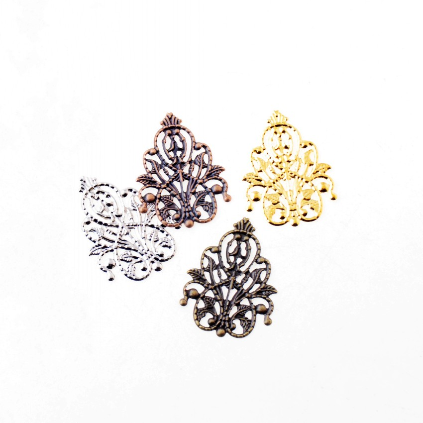 Free Shipping 30Pcs Filigree Wraps Flower Connectors Metal Crafts Gift Decoration DIY Findings 26x35mm