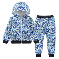 Children S Clothing Two Piece Spring And Autumn New Children S Fashion Printing Zipper Shirt Trousers