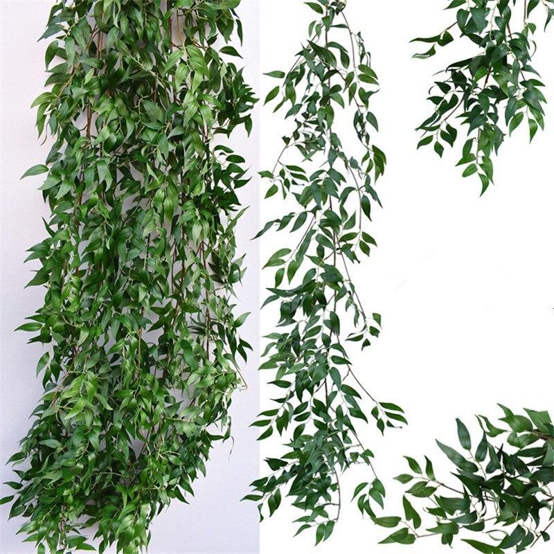 Salgueiro Artificial folhas de videira falso planta para decoração de Casamento plantas artificiales falso guirlanda rattan lierre artificiel