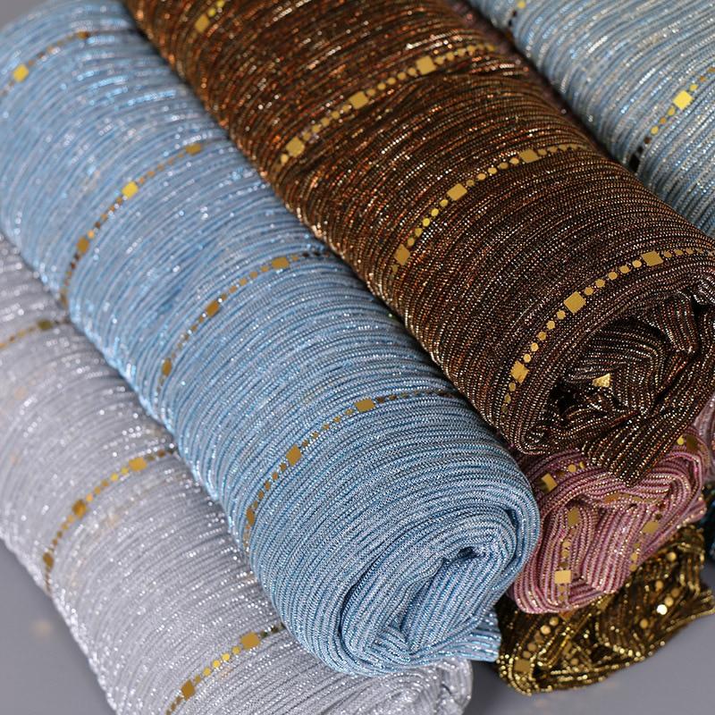 Image 5 - Beautiful! Magic filament Sequin Scarves Women Muslim Hijabs  Shimmer Lurex Long Shawl Wrinkled Islamic Wedding Veil Head  CoverWomens Scarves