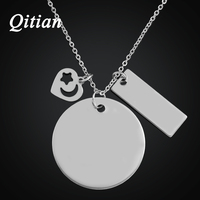 Qitian Hand Stamped Jewelry Stainless Steel Custom Family Name Necklace With Heart Charm Personalized Necklace For