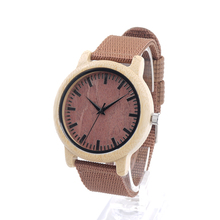 BOBO BIRD D09 Bamboo Wooden Watches Mens Womens Red Dial Canvas Band Quartz Watches In Gift Box
