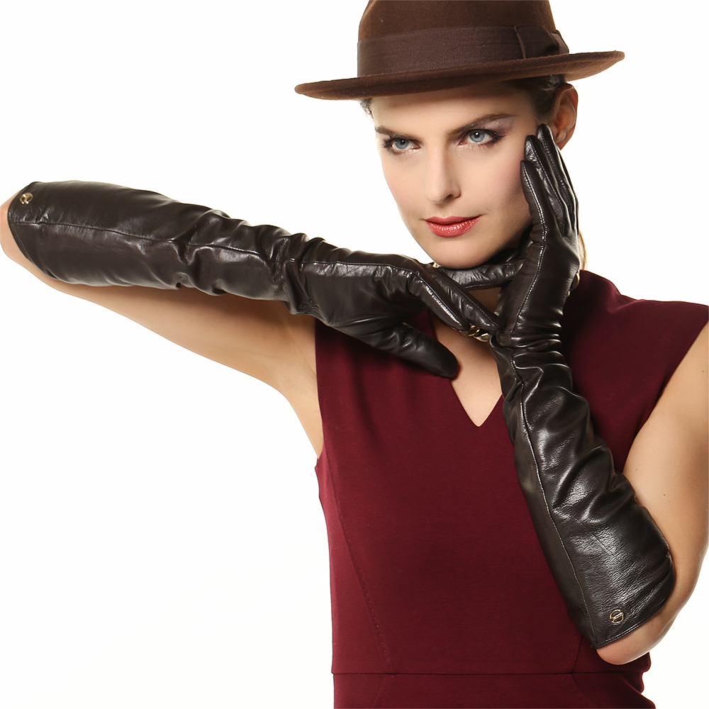Black leather gloves female - Fashion Sale 51cm Long Women Leather Gloves Five Finger Solid Real Sheepskin Banquet Genuine Opera Driving