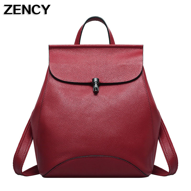 ZENCY Women Soft Genuine Cow Leather Backpack Female Designers Real Leather Ladies Backpacks Cowhide Woman School Bags Girls zency genuine leather backpacks female girls women backpack top layer cowhide school bag gray black pink purple black color