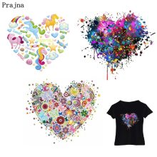 Prajna Heart Patch Unicorn Clothes Applique Bear Lion Iron On Patches Impressionism Heat transfer DIY T-Shirt Clothing Stickers