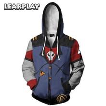 Game Borderland Cosplay Hoodies Assassin Zero Costume 3D Print Sweatshirt Zipper Hooded Coat Men Adults Hip Hop Jacket Outfit