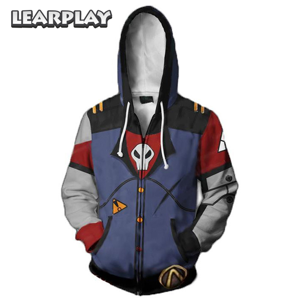 Jeu Borderland sweat à capuche de cosplay Assassin Zero Costume 3D imprimé sweat Zipper à capuche manteau hommes adultes Hip Hop veste tenue