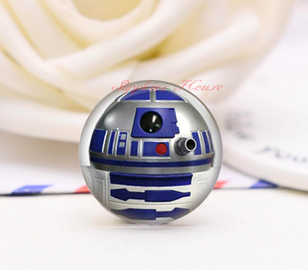 Handmade Round Star Wars Robot Photo Glass Cabochons, Jewelry Finding Cameo Pendant Settings, (F006-44)