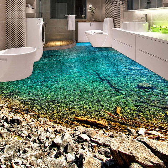 Custom Clear River Water 3d Floor Mural Wallpaper Kitchen