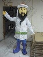 Export High Quality Arab Mascot Costume Customizable Black Beard Man Mascot Costume Blue Boots