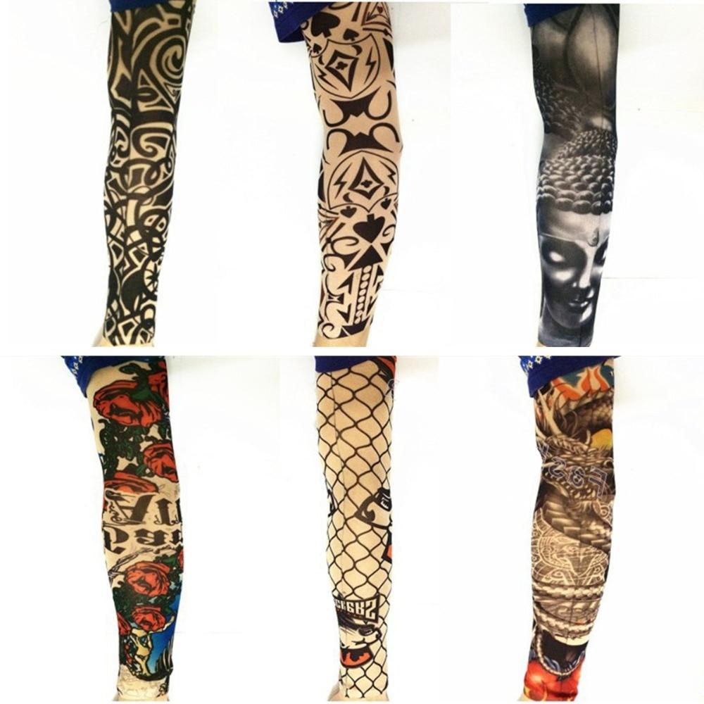 Fake temporary tattoo sleeves 6pcs nylon elastic legging for Fake tattoos sleeves
