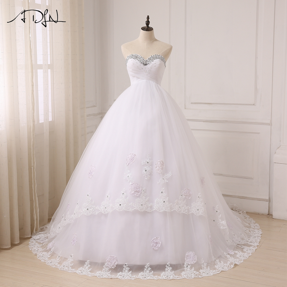 ADLN 2017 Pregnant Wedding Dresses Sweetheart Sleeveless Empire Ball Gown Sweep Train Bride Wedding Gowns Plus Size gown