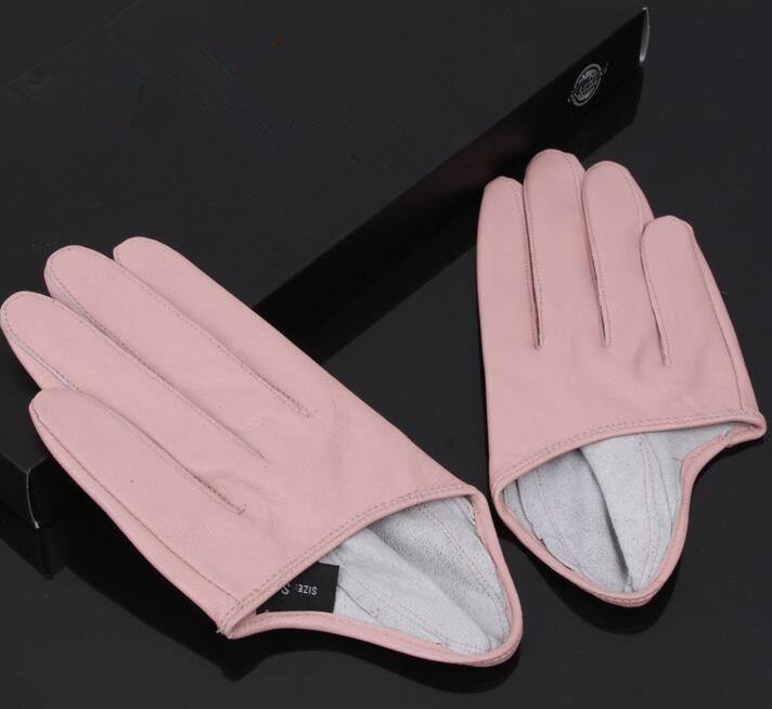 Women's Natural Sheepskin Leather Solid Pink Color Half Palm Gloves Female Genuine Leather Fashion Short Driving Glove R1171