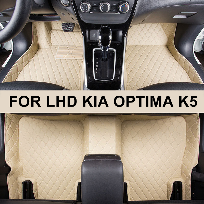 Car Floor Mat For LHD Kia Optima K5 JF 2018 2017 2016 Rug Auto Accessories Pad Anti-Slip Luxury Leather Floor Mats Car-Styling bear claw floor mats for kia amanti