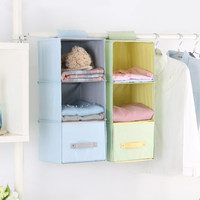 Wardrobe Hanging Organizer Bag With Drawer Foldable Fabric Hanging Closet Shelves
