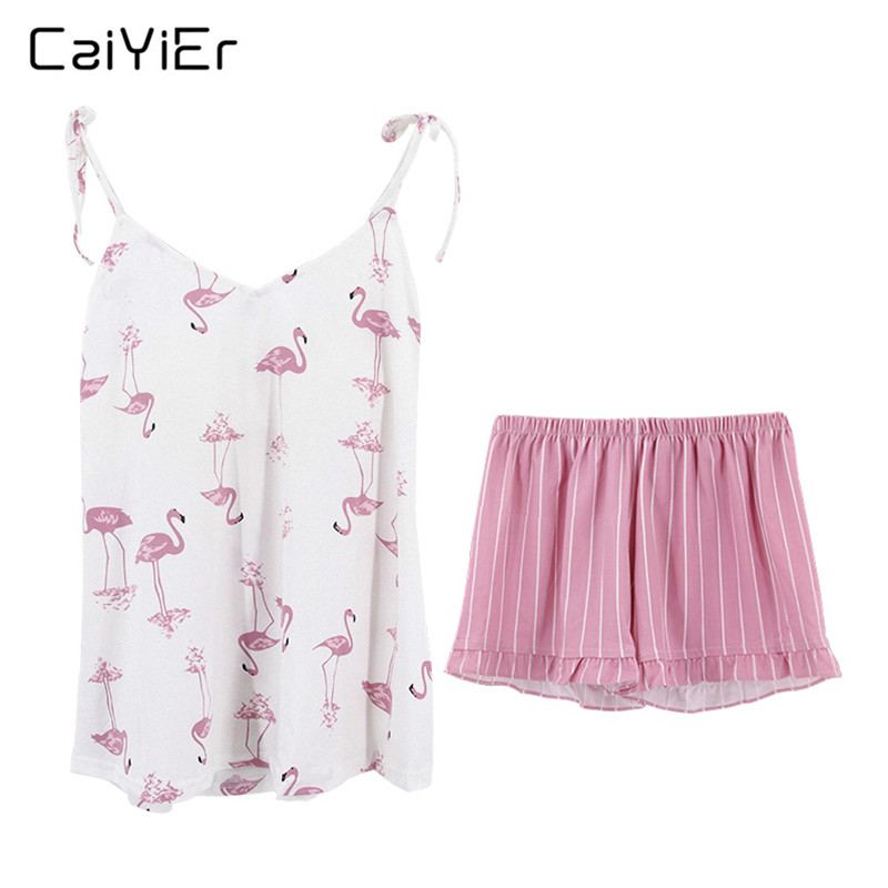 Caiyier 2019 Sexy Cotton Pajama Set Pink Flamingos Summer Nightwear Sling V-Neck Sleeveless Cami Tops Shorts Casual Sleepwear
