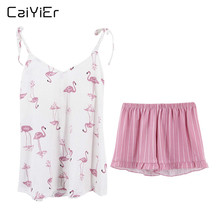Caiyier 2019 Sexy Cotton Pajama Set Pink Flamingos Summer Nightwear Sling V Neck Sleeveless Cami Tops Shorts Casual Sleepwear