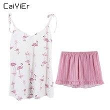 Caiyier 2019 مثير القطن بيجامة مجموعة الوردي طيور النحام الصيف ملابس النوم الرافعة الخامس الرقبة أكمام كامي القمم السراويل ملابس خاصة غير رسمية