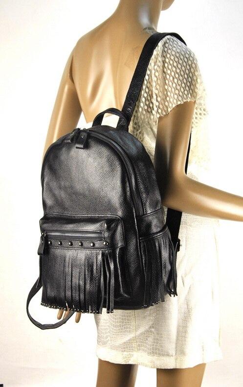 Women Genuine Real Leather Backpack Tassel Fringe Punk Rock Bag Back To School Book Fashion Casual Shoulder Purse Travel Daily - 3