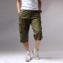 Longo Comprimento de Shorts Da Carga Dos Homens Na Altura Do Joelho Bolso  Algodão Cintura Elástica Bermudas Casuais Masculinos E.. 21996db01de69