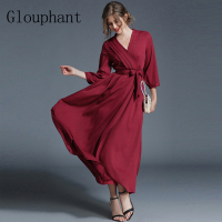 Glouphant 2017 Decorous Elegant Deep V Neck Women S Pleated Chiffon Dress Autumn Women Evening Dress
