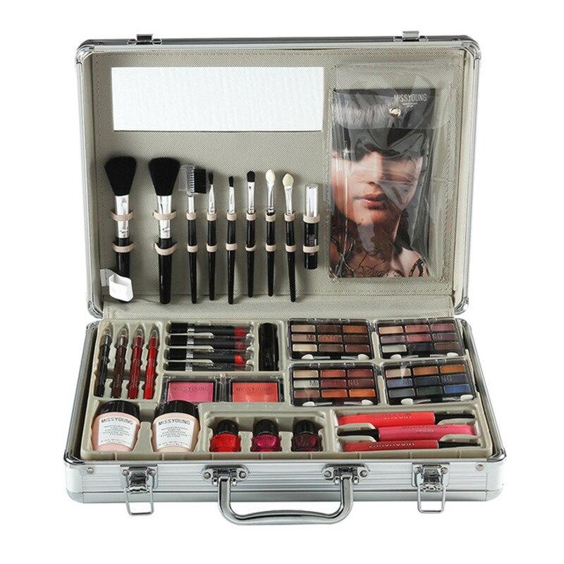 Trousse à outils de maquillage comprenant un fard à paupières mat rouge à lèvres brillant à lèvres fond de teint brosse vernis à ongles Kit de maquillage Kit cosmétique Maquiagem