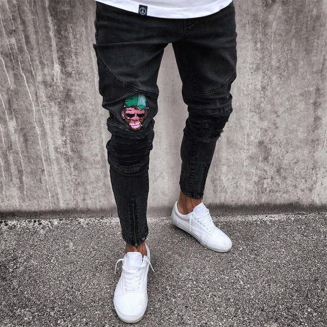 2018 Fashion Mens Jeans Fortnite Skinny Rip Slim Stretch Denim Distress Frayed Biker Jeans Boys Embroidered Pencil Trousers 4