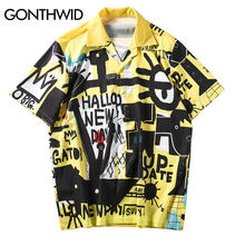 GONTHWID Hip Hop Graffiti Hawaiian Aloha Phantasie Strand Shirts Street 2019 Sommer Mens Casual Party Urlaub Kleid Shirts Männlichen(China)