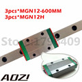 3PCS 12mm Linear Guide MGN12 L= 600mm Linear Rail Way + 3PCS MGN9H Long Linear Carriage For CNC X Y Z Axis