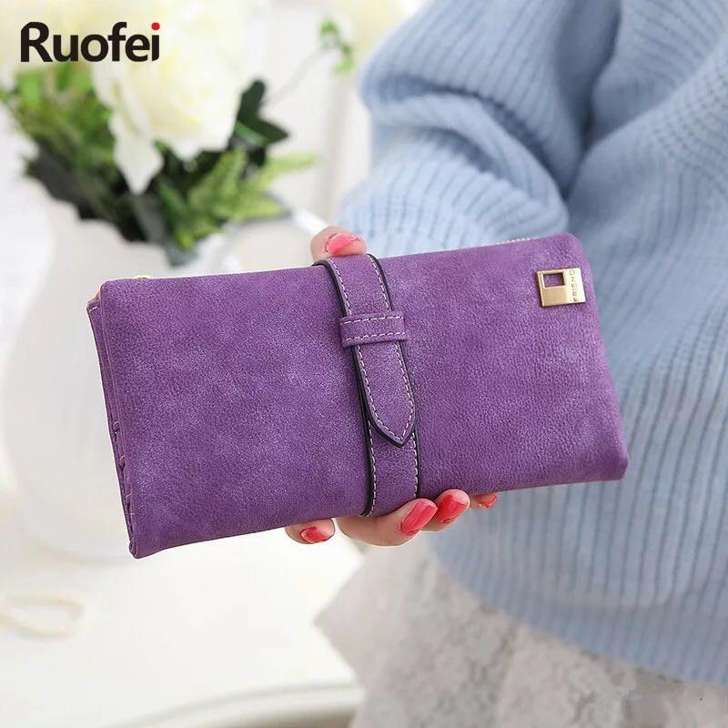 New rushed Lady Bag Women Wallets Purse Matte Drawstring Nubuck Handbags Leather Zipper Long Two Fold Clutch Card Holder A2