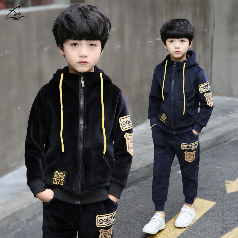 FYH Kids Clothes Winter Boys Gold Velvet Sports Suit Children Clothing Set 2pcs Boys Hooded Sweatshirt+Pants Warm Thicken Set fyh boys long sleeve sports set school boys casual printed suit hooded sweatshirt pants kids autumn clothes children tracksuit