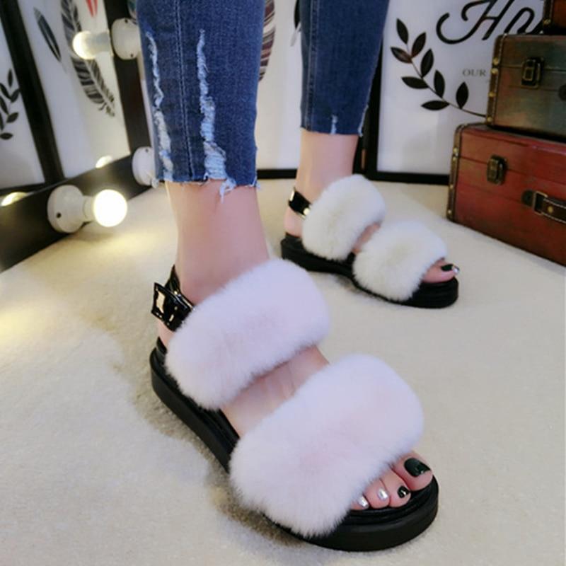 2017 여름 스타일 여성 샌들 웨지 여성 샌들 플랫폼 슬리퍼 리얼 모피 여성 신발 오픈 발가락 캐주얼 여성 신발