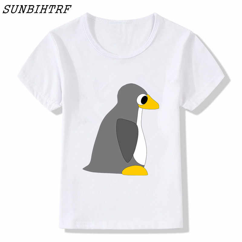 2018 enfants drôle imprimer le pingouin LINUX dans un ordinateur de mode bébé T-shirt manches courtes O cou décontracté enfants Cool T-shirt