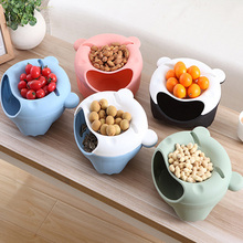 Creative Lazy Fruit Snacks Plate Double Layer Candy Peel Seeds Bowl Dish Plastic Cartoon Big Mouth Bear Storage tray Desk Decor