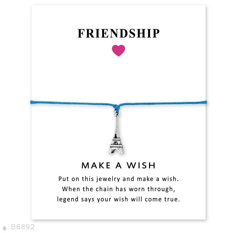 Unisex Meninas Declaração de Amizade de Noivado Casamento Da Dama de Honra Fazer um Desejo de Prata Torre Eiffel Charme Pulseiras para As Mulheres