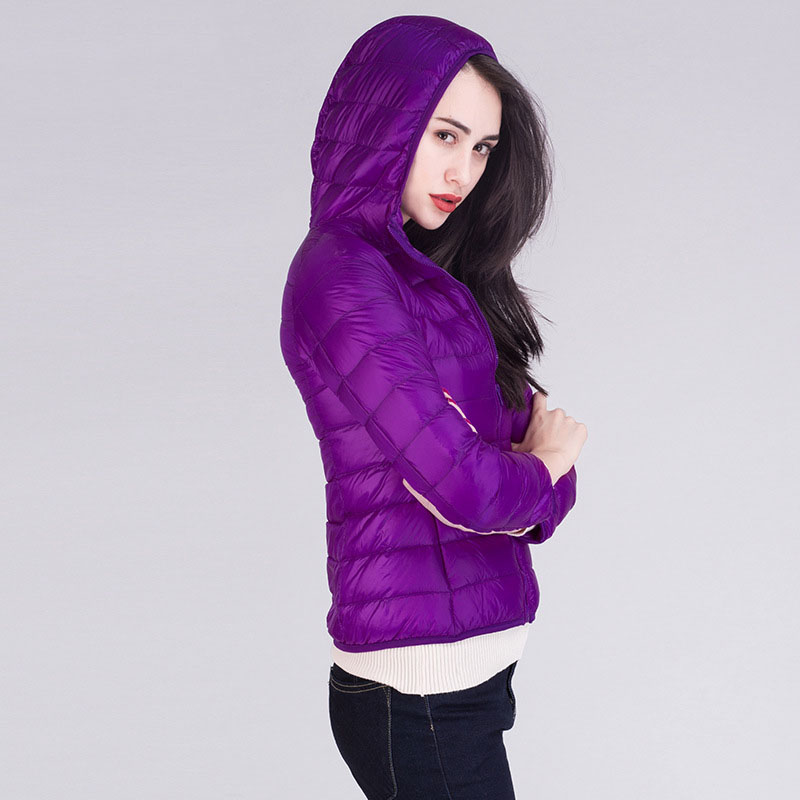 New arrival 2019 autumn winter ultra thin light weight   down   jacket women hooded slim short   down     coat   outerwear plus size