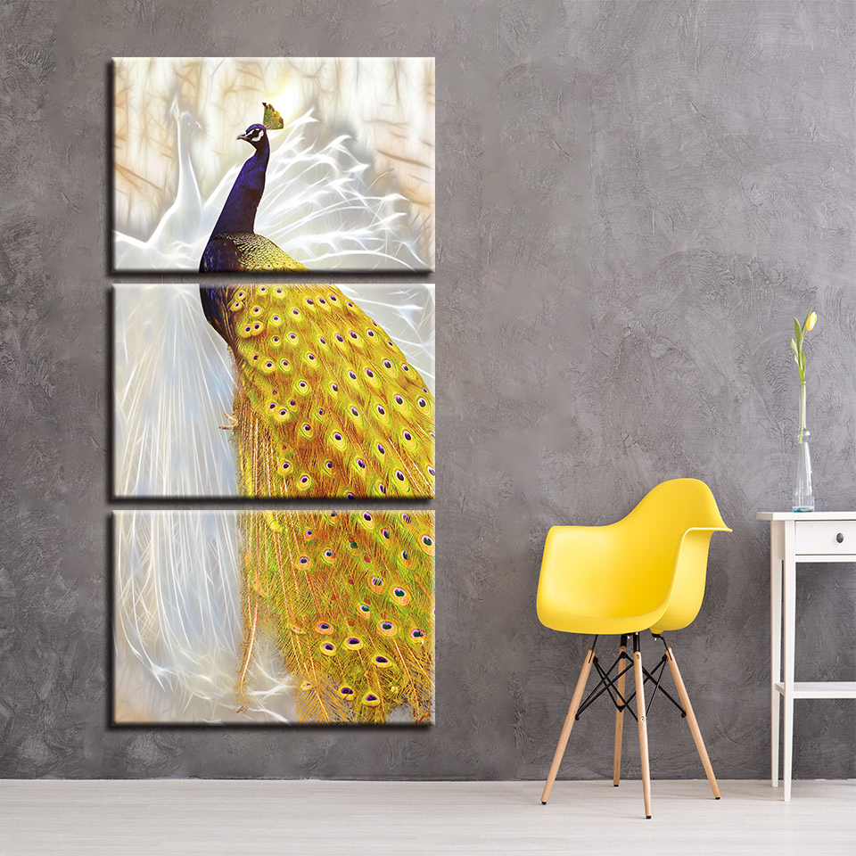 Canvas Paintings Living Room Framework Wall Art 3 Piece Peacock ...
