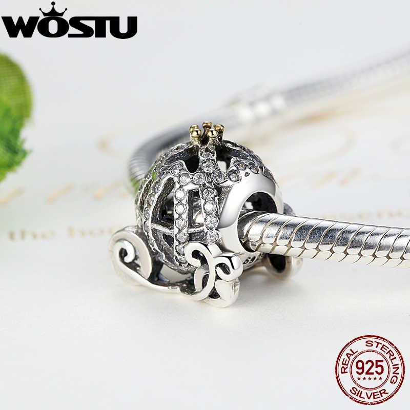 Prawdziwe 925 Sterling Silver kopciuszek dynia urok wyczyść CZ Fit oryginalny bransoletka wisiorek autentyczne biżuteria C792