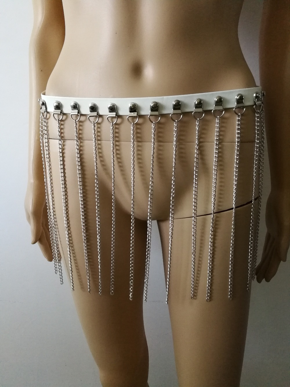 New Fashion Style WRB1043 Women White Leather Harness Bondage Beach Leather Waist Belly Silver Chains Belly Leather Jewelry
