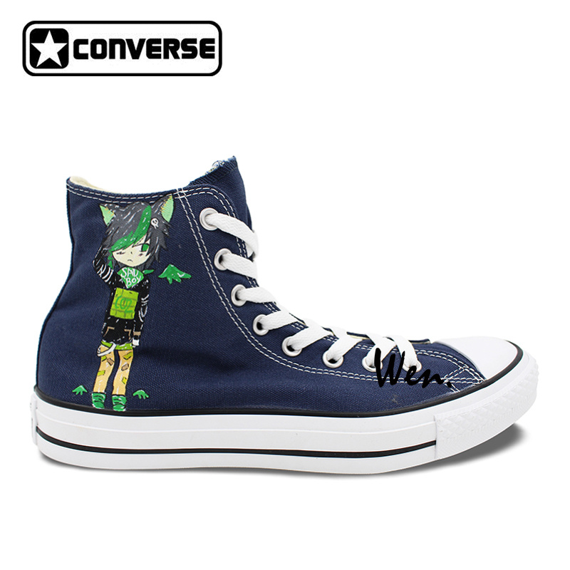 81e17f90ba8d Cartoon shoes boys girls converse all star dex midnight dirk strider design  hand painted high top navy blue canvas sneakers