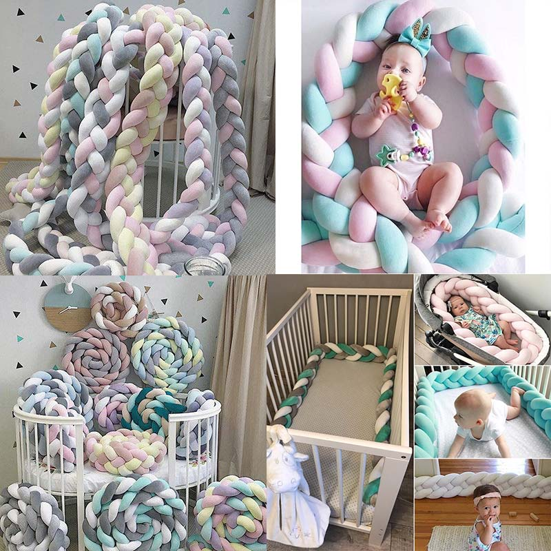 1M/2M Length Newborn Baby Bed Bumper Pure Weaving Plush Knot Crib Bumper Kids Bed Crib Sides Cot Protector Baby Room Decor