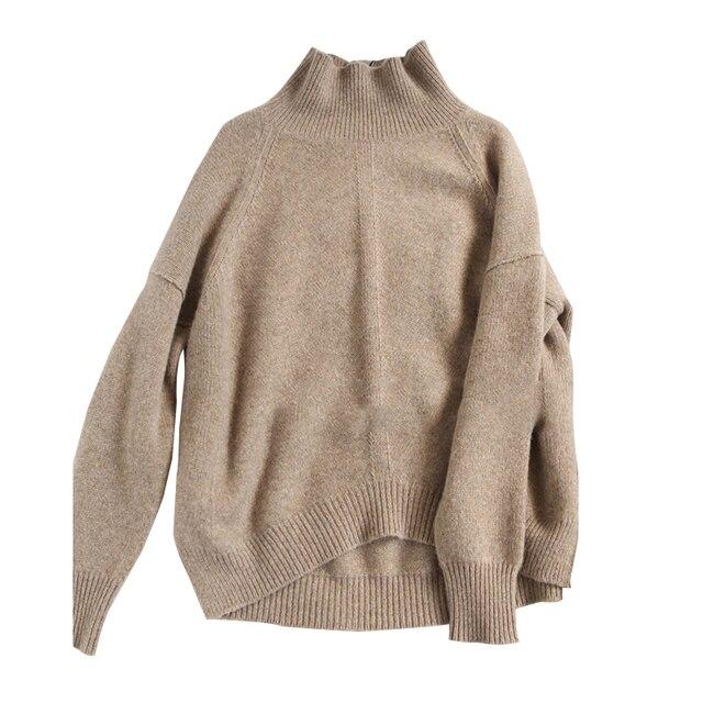 ארצות הברית אירופה סתיו נשי סוודר קשמיר צווארון גבוה חורף נשים סוודר רופפות בסוודרים עבים צבע קרמל