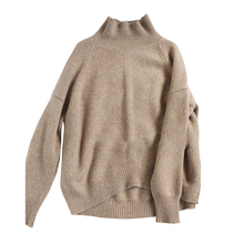 Europe United States autumn winter high collar cashmere sweater female caramel color loose women thicker pullover
