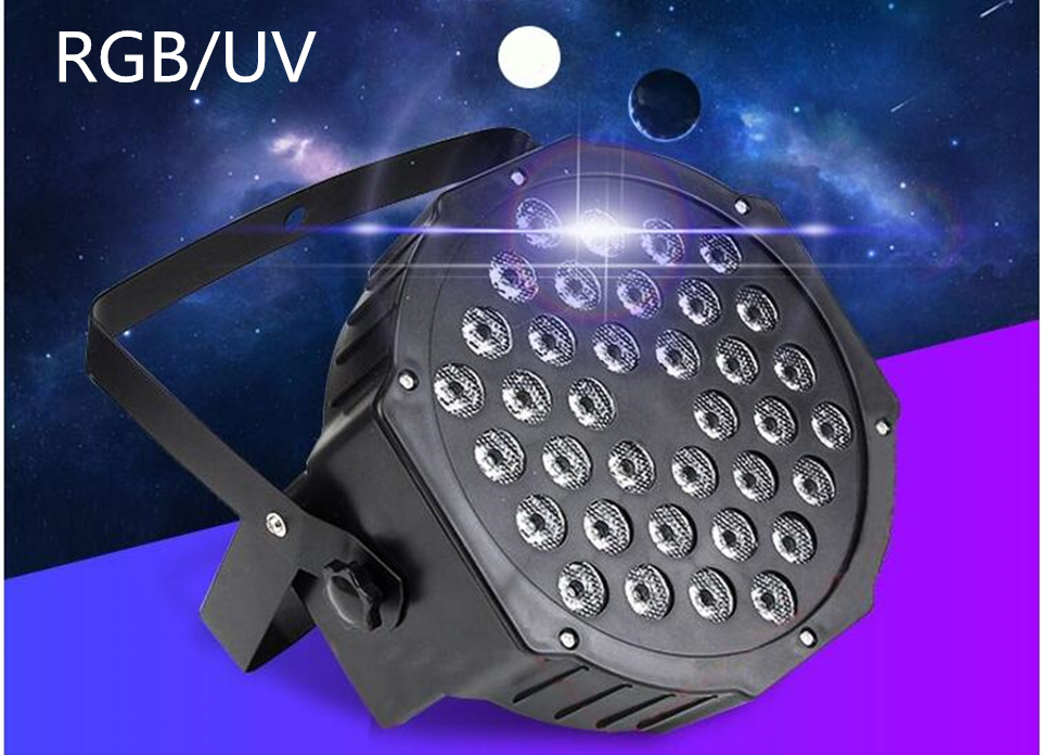 2pcs/lot RGB/UV Stage Light 36 LEDS Par Light Disco DJ Lighting dmx led par Club Party light Strobe AC110-240V 6pcs lot led par 84x3w rgbw light par64 rgb stage light decoration dmx wedding party bar lighting disco