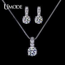 UMODE Bijoux Femme Top Grade AAA CZ  1 pair Stud Earrings & 1pcs Pendant Necklace Set For Women Jewelry Sets AUS0020