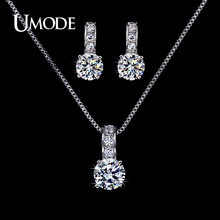 UMODE Bijoux Femme Top Grade AAA CZ 1 pair Stud Earrings 1pcs Pendant Necklace Set For