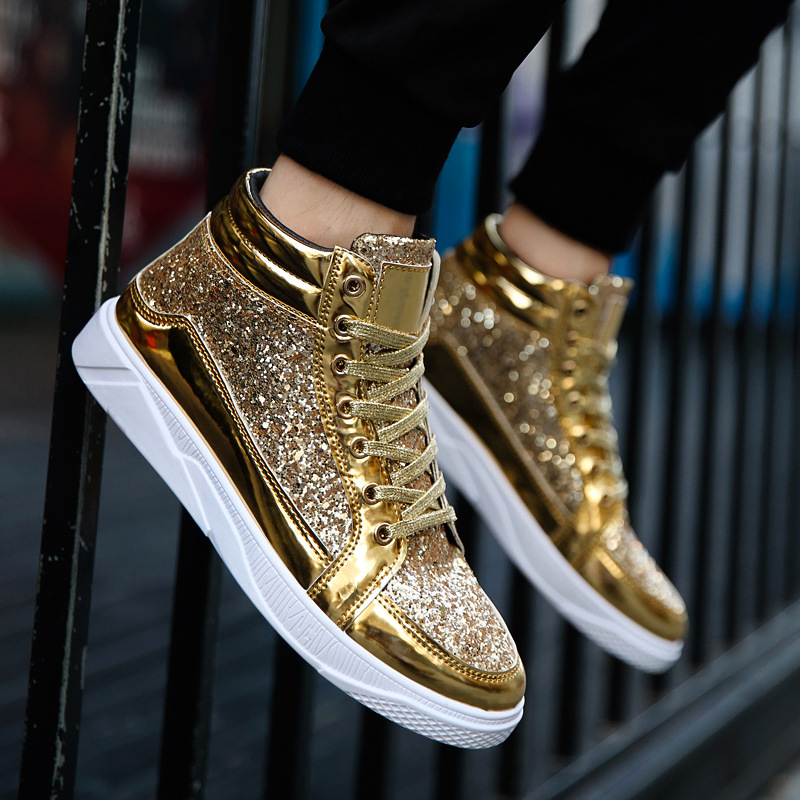 Men Shoes Brand Flats Homme Korean version street dance Casual Shoes Lace Up Mens Trainers high top Golden Zapatillas Hombre in Men 39 s Casual Shoes from Shoes