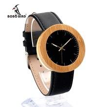 5fd51cfef11 Bobo bird j29 bambu das mulheres relógio de pulso clássico black dial ouro  aço inoxidável caso